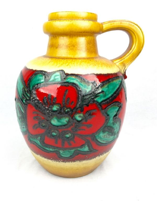 West German Pottery Large Jug / 1960's / 70s Retro Vase / Red / Brown / Green